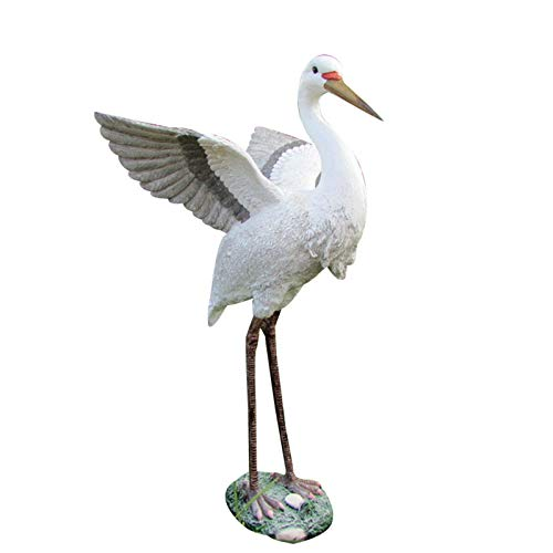 YLiansong-home Garden Ornament Figurine Garden Egret Resin Statue Animal Sculpture Patio Pool Lawn Landscape Decorations for Yard Lawn Decoration Gift (Color : White, Size : 48X36X30CM)