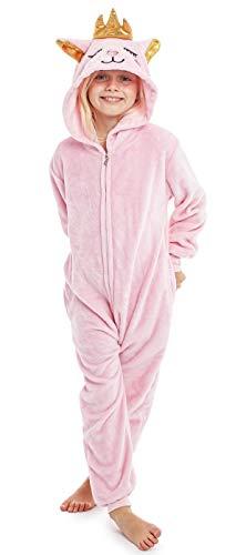 CityComfort Kinder Jumpsuits Kostüm Tier Onesie, Super Kuscheliger Schlafanzug Mädchen Kigurumi Pyjamas Jungen Schlafoverall Einhorn Katze Löwe AFFE Faultier (13/14 Jahre, Kitty Königin)