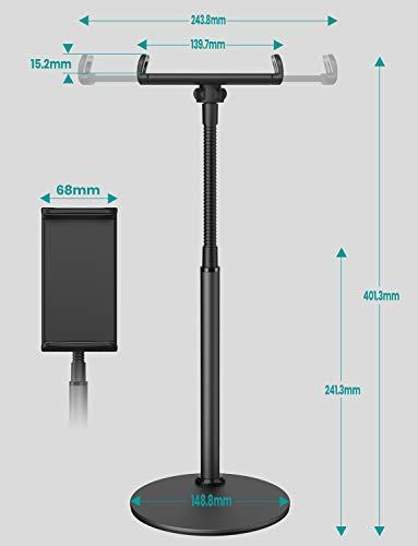 タブレット スタンド 卓上 Klearlook【揺れず頑丈な金属製台座・12.9インチ程対応・360度回転可能】スマホホルダー iPad スタンド アーム 横/縱/仰向け 持ち運び易い For iPad/Kindle/Nintendo Switch/android/iPhone多機種対応 (ブラック)