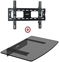 Mount World 952T43 Low Profile LCD LED Plasma TV Tilt Wall Mount with Bundle Single Glass shelf of Cable Box DVD Player Stereo Components for Most 22