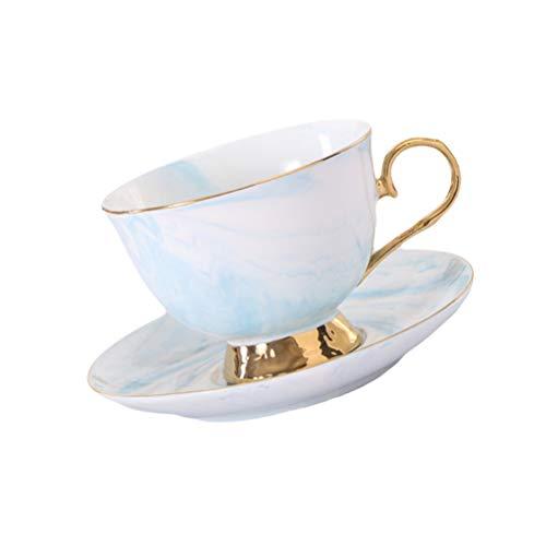 Hemoton 250Ml Blau Gold Rand Marmor Stil Keramik Kaffeetasse Und Untertasse Set Teetasse Keramik Milch Kaffee Getränk Latte Mokka Tee Cappuccino Tasse Tasse