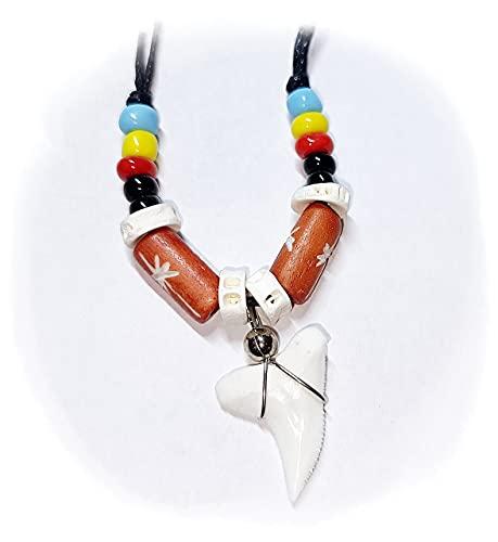 Hejoka-Shop Haizahn Kette Hai Zahn Haifischzahn ca. 15 x 15 mm. Surferkette mit Perlen und farbigen Bone BRAUN, schwarzes Band