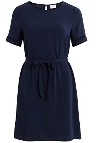 Vila Clothes Damen VILAIA S/S LACE Dress Kleid, Navy Blazer, 38
