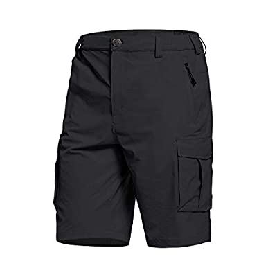 BALEAF Men's Cargo Shorts Quick Dry Zip Pockets Lightweight Breathable for Hiking, Camping, Travel Black XXL