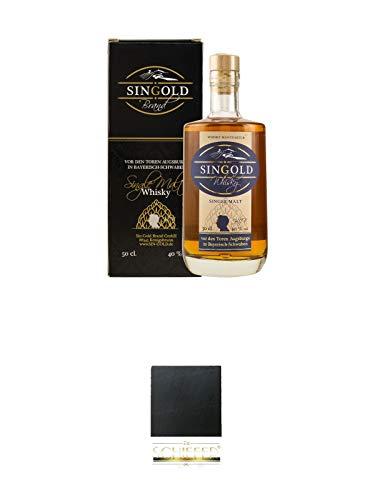 Singold Brand Single Malt Whisky Deutschland 0,50 Liter + Schiefer Glasuntersetzer eckig ca. 9,5 cm Durchmesser