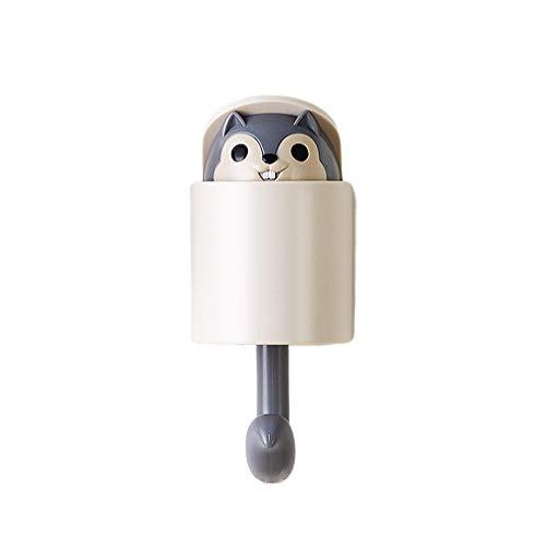 DOITOOL Cartoon Squirrel Wall Plug Hook Hanging Key Hook Wall Clothes Hanger for Kitchen Bathroom Coat Hat (Grey)