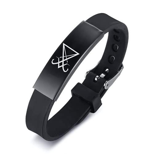 ForeverWill Schwarzes Silikon Siegel von Luzifer Armband für Jugendliche Männer Frauen Biblisches Satanisches Symbol Geist Armreif Inspirierende Satanssiegel Schmuck Geschenke für Ihn Ihr