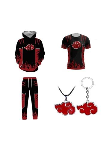 Akatsuki - Conjunto de sudadera con capucha y pantalón deportivo unisex con accesorios Akatsuki, a, 4X-Large