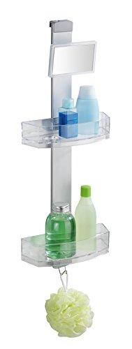 Wenko Duschcaddy Premium mit Antibeschlagspiegel - Badregal, Duschregal mit 2 Ablagen und Haken, 25 x 71 x 10,5 cm, silber matt