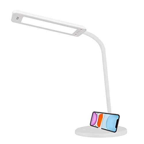 QueenDer Lámpara Escritorio LED, Lámparas de Mesa USB Regulable Recargable-2500mAh Plegable Luz Control Táctil(5 Modos,5 Niveles de Brillo)Para Leer, Estudiar-Blanco[Clase de eficiencia energética A]