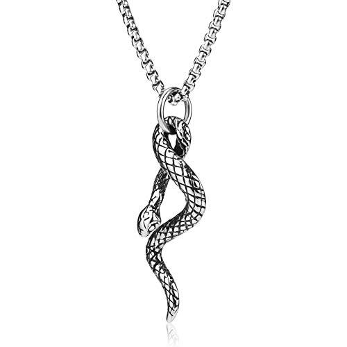 WESTMIAJW - Collar para hombre con colgante de serpiente de 3 mm, cadena de acero inoxidable plateado, 60 cm, con bolsa de terciopelo