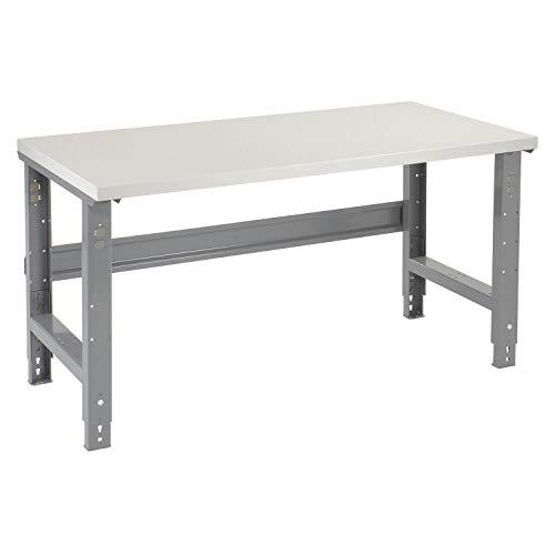 "Adjustable Height Workbench C-Channel Leg, Plastic Laminate Square Edge, 60""W x 30""D, Gray"