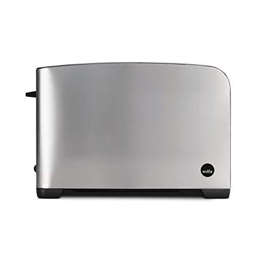 Wilfa MORGEN Tostadora - 2 ranuras extra anchas, 5 niveles de tostado con función de descongelación, recalentamiento y apagado, plateada