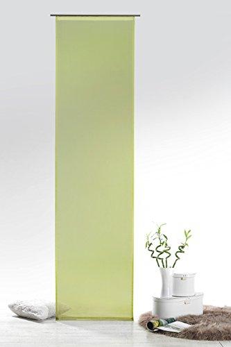 Fashion&Joy - Schiebegardine Voile Pistazie HxB 245x60 cm mit Zubehör - transparent einfarbig - Flächenvorhang grün Schiebevorhang Gardine Typ418