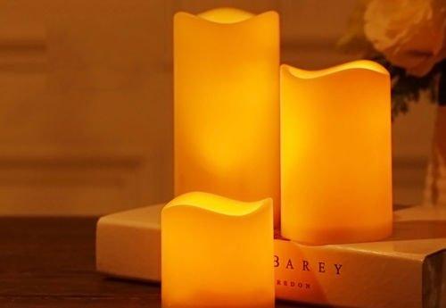 Paramount City Lot de 3 bougies LED sans flamme à piles pour intérieur ou extérieur avec minuterie de 6 heures (7,6 x 15,2 cm)