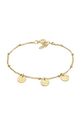 Elli Armband Damen Plättchen Rund Gehämmert Minimal Organic Look verstellbar aus 925 Sterling Silber