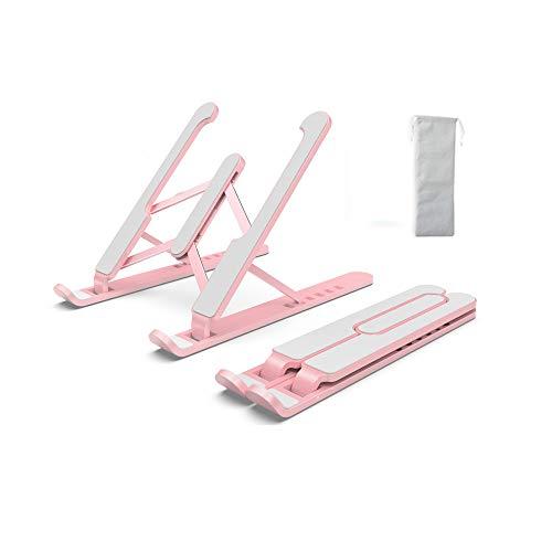 TOOYOO Soporte Portátil Plegable,Soporte para Laptop Adjustable de Múltiples Ángulos,Vertical Plegable de Aluminio para Tableta para Laptops/Teléfonos Móviles/Tabletas/Kindles/Nintendo,Rose
