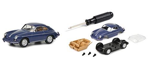 Schuco 452019900 Bausatz Porsche 356, Schraubenzieher, 3 Schrauben, Chassis inkl. Achsen, Karosserie, Fensterteil, Interieur, Modellauto, 1:64, dunkelblau, grau