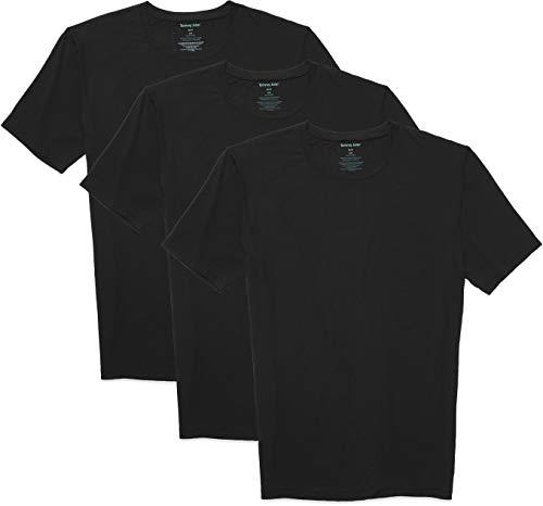 Tommy John Men's Second Skin T-Shirt - 3 Pack - Stay Tuck Design - Soft Slim Fit Crew Neck Undershirt Tee (Black, X-Large)