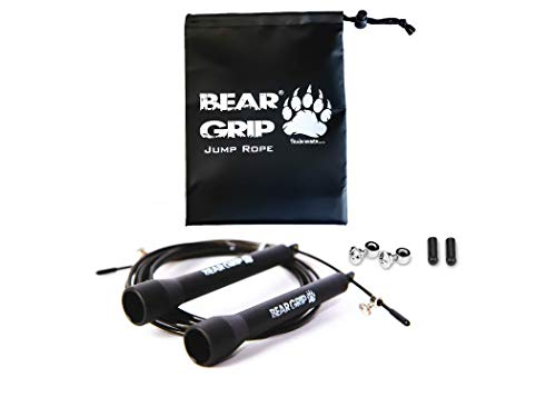 BEAR GRIP - Best Skipping Speed Jump Rope, Adjustable 10ft Cable, (STEEL...