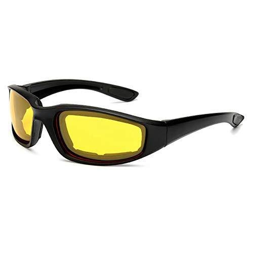 24 JOYAS - Occhiali sportivi da moto, con cuscinetti protettivi dal vento, per ciclisti e motociclisti, unisex Nero L