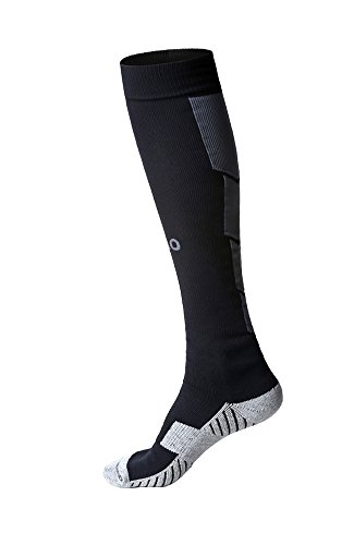 Mens Sports Athletic Compression Football Soccer Socks Over Knee High Team Socks (one size, Black)