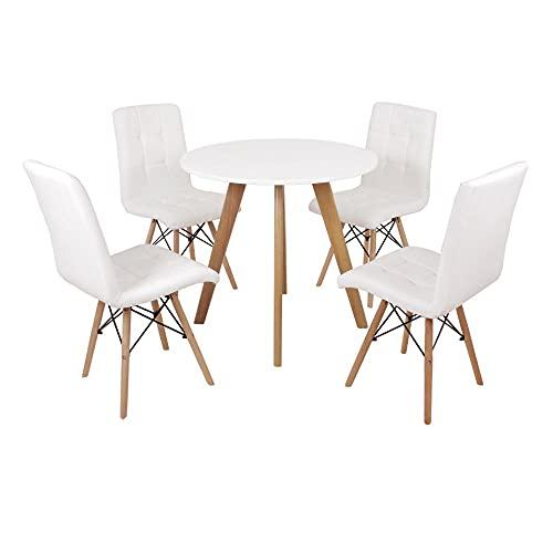 Mesa Laura 80cm Branca + 4 Cadeiras Eiffel Gomos - Branca
