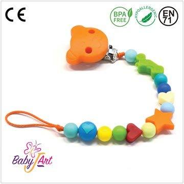 Baby J Art Attache-sucette en silicone avec crochet et adaptateur tétine pour maman Fabriqué en Italie.
