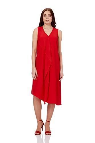 Roman Originals Damen Asymmetrisches Kleid mit Wasserfallausschnitt in Gelb - Rot - Größe 38