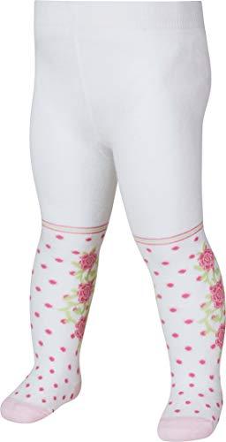 Playshoes Mädchen, Punkte mit zarten Rosen, Textiles Vertrauen nach Oeko-Tex Standard 100 Strumpfhose, Weiß (Weiß 1), 62 (Herstellergröße: 62/68)