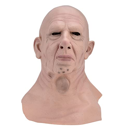 Mscara de Halloween, mscara Realista para Hombre con Cabeza Calva, mscara Facial de ltex, Divertida y aterradora para Disfraces de Halloween, Accesorios de Cosplay