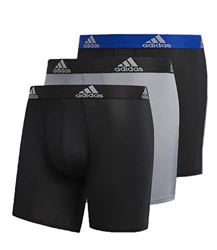 adidas Men's Performance Boxer Briefs Underwear (3-Pack), Blue/Black Black/Grey Black/Black, Large