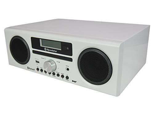 Roadstar HRA-9D+BT Digitalradio mit CD-Player und Bluetooth. Aufnahme-Funktion. (DAB, DAB+, UKW, RDS, USB, 75 Ohm Antennenanschluss), max 240 Watt Musikleistung, weiß lackiert