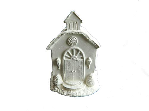 Christmas Village Church #1~4.25 Inches ~ Unpainted Ceramic Bisque ~ Hand Poured in The USA