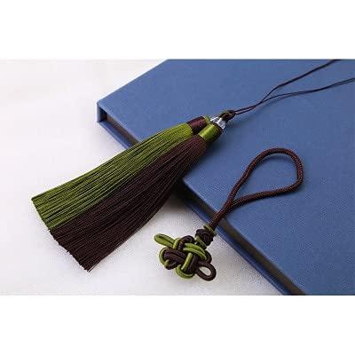kangzhiyuan Nudo chino borla de dos colores DIY cortina bolsa de ropa suministros de artesanía estilo clásico borla colgante decorativo nudo chino (color: café verde)