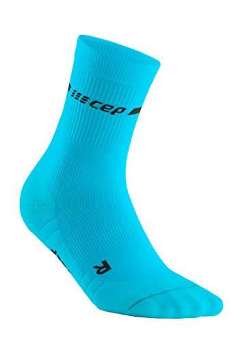 CEP – NEON Compression MIDCut Socks für Herren | Laufsocken mit Kompression für mehr Leistung in neon blau | Größe IV