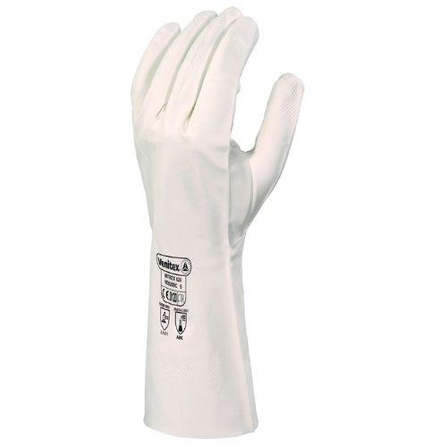 Delta plus - Guante nitrilo 33cm clorinado blanco talla 9