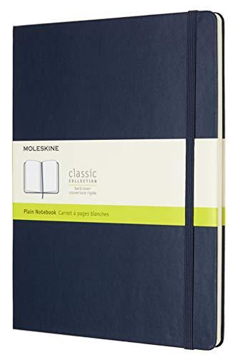 Moleskine Classic Notebook, Hard Cover, XL (7.5 x 9.5) Plain/Blank, Sapphire Blue