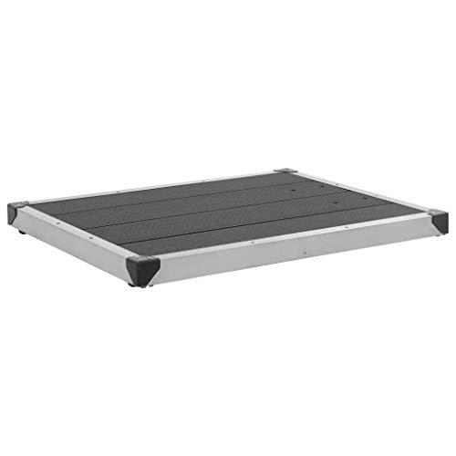 VidaXL Douchebak, WPC, roestvrij staal, bodemelement, tuindouche, meerdere keuze 80 x 62 x 5 cm grijs, zilver.