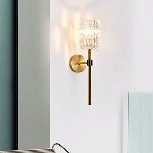 WarmHome Lámpara De Mesita Nórdica Dormitorio Estilo Minimalista Moderno Pasillo Creativo Sala De Estar Lámpara De Pared De Cristal De Latón