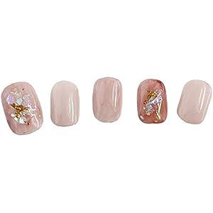 ベリーショート 小さい爪専用 ピンク ハンドネイルチップ ショート サイズ ホログラム 桃色 マーブル 柄 小さいサイズ 小型 短い スモールサイズ かわいい くすみピンク ジェル つけ爪 おしゃれ Mサイズ 10本セット 日本人製作 日本製
