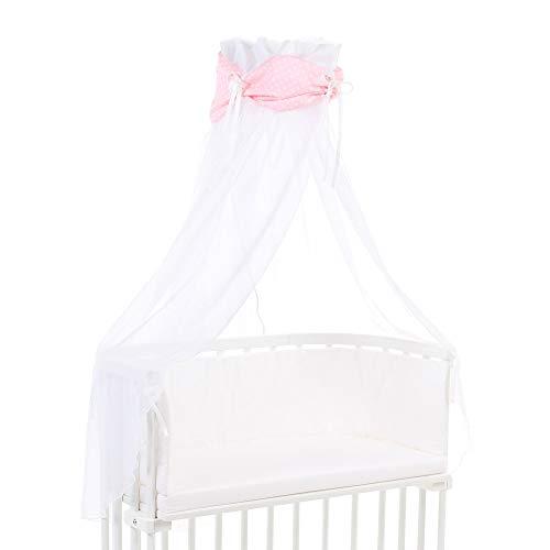 Ciel de lit babybay en coton bio avec nœud adapté aux modèles Original, Maxi, Boxspring, Comfort, Comfort Plus et Midi, rose avec étoiles blanches