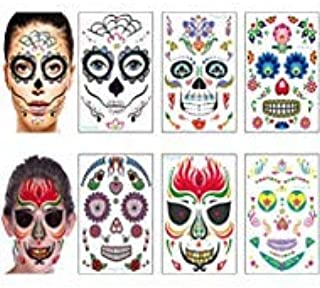 Day of the Dead Sugar Skull Tattoos Halloween Face Tattoos Makeup Stickers Halloween Temporary Tattoos for Women Men Adult Kids Skeleton Mask Tattoo Halloween Party Favor Supplies (6 Sheets)