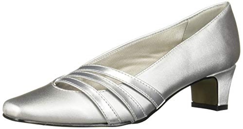 Easy Street Women's Entice Dress Shoe Pump, Silver Satin, 8 M US
