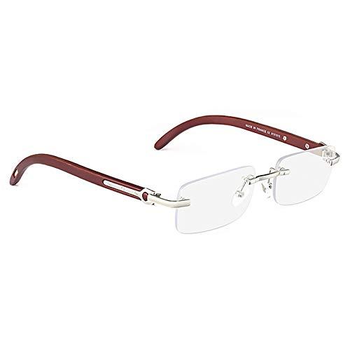 SHEEN KELLY Randlose Sonnenbrille aus Naturholz für Männer Frauen Retro Rechteck Ultra-Kleine Brillen