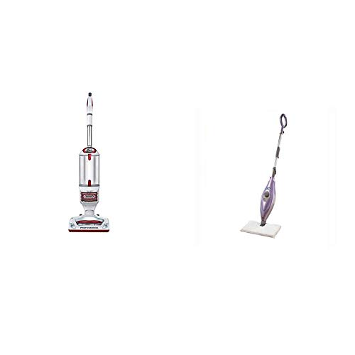 Shark Rotator Professional Upright Corded Bagless Vacuum with Lift-Away Hand Vacuum and Anti-Allergy Seal, Red & Steam Pocket Mop Hard Floor Cleaner with Swivel Steering XL Water Tank