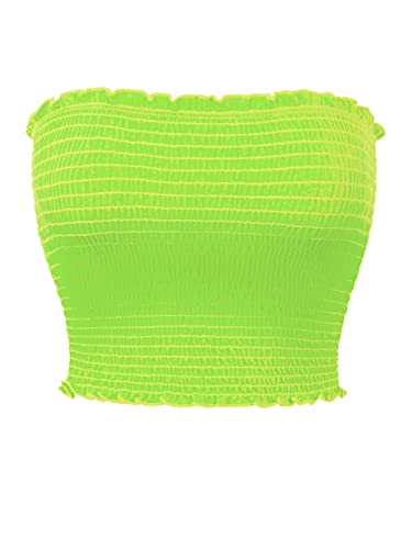 MixMatchy Women's Solid Strapless Smocked Summer Bandeau Tube Crop Top Neon Green S