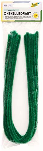 Folia- Lot de 10 Fils Chenille Vert Mousse de 8 mm et 50 cm de Long-Idéal pour Les Enfants-pour bricoler des Animaux, des Figurines et d'autres Formes, 611117