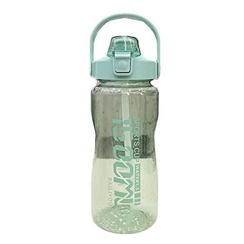 FPEH Taza de agua de plástico de gran capacidad portátil pop-cap botella de agua al aire libre resistente a las caídas deportes botella de agua grande verde