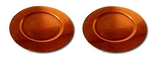 Best-Accessoires4All 2 Stück Dekoteller Platzteller Untersetzer Teller Weihnachtsteller Tisch-Dekoration Weihnachten Holz-Metallic Look 33cm (orange)